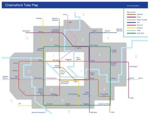 Chelmsford Tube Map new - Hilarious parody Chelmsford tube map includes stops at 'binge drinking' and 'traffic'