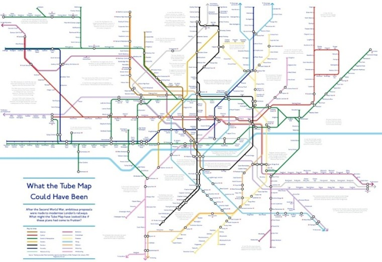 couldhave - A Tube Map That Never Happened, Based On Plans From The 1940s