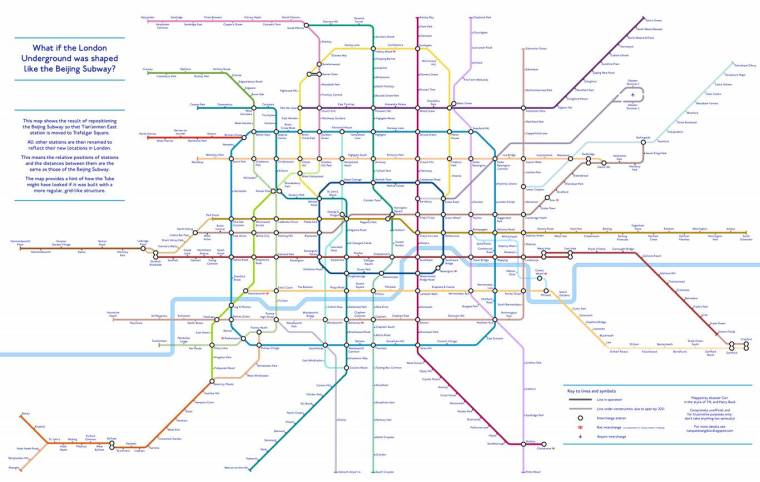 beijing tube 1024x649 - An alternative TfL Tube map: Designer creates 'grid-like' London Underground plan using Beijing Subway as guide