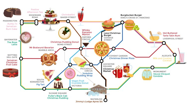 wren kitchens food tube map large 1024x595 - Alternative Tube Map: Quirky Christmas Food