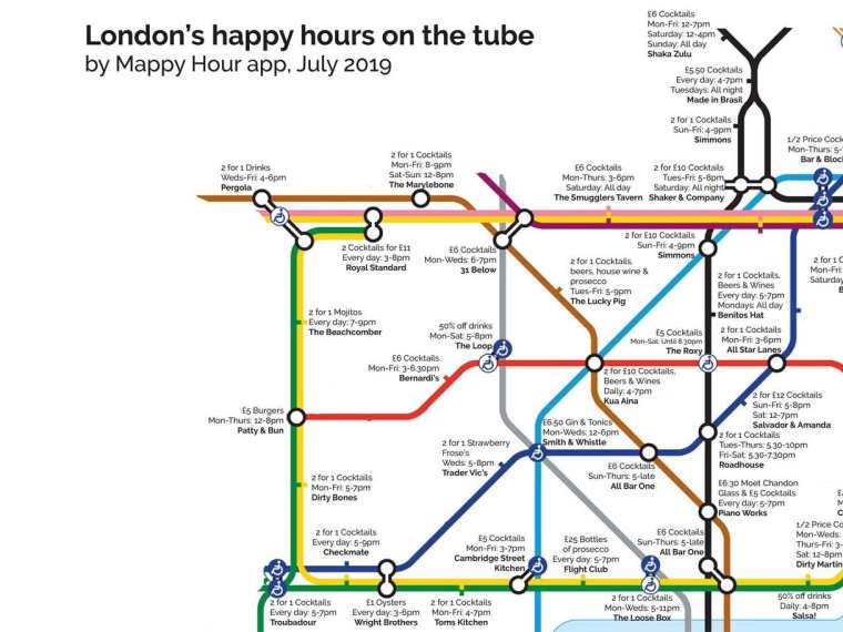 happy hour tube nw 1024x768 - This Tube map shows the nearest happy hour to each London Underground station