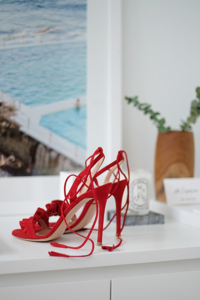 strappy red shoes trendy styles