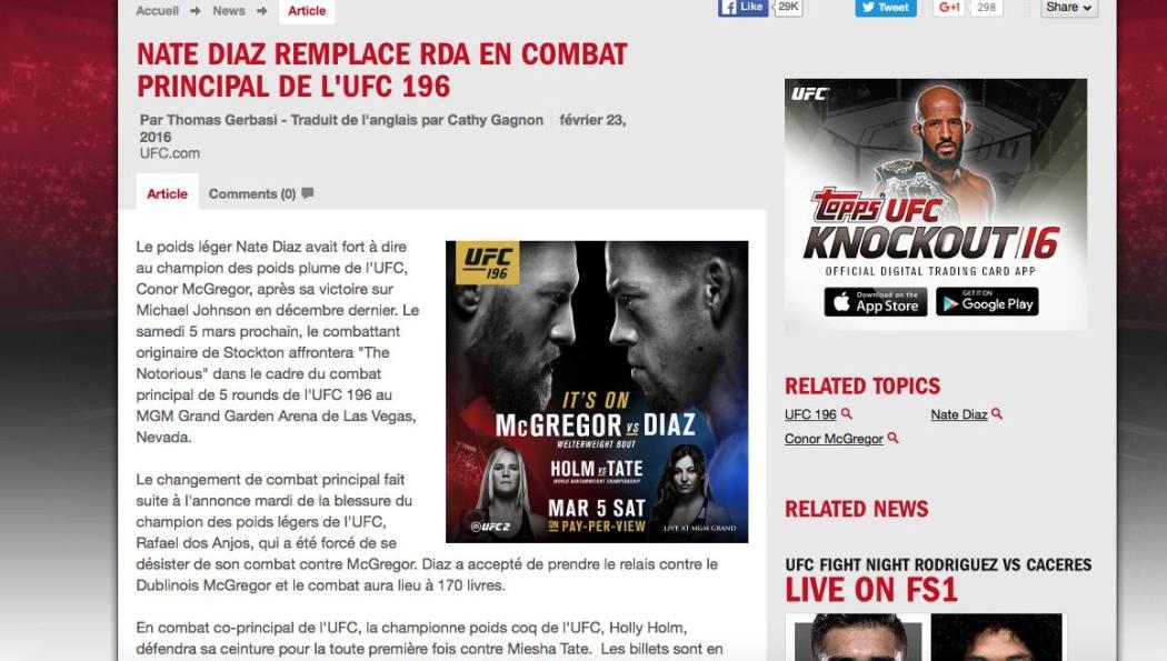 MMA imprévisible - Conor McGregor RDA