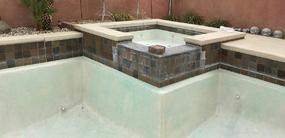 Before Cleaning Scale Deposits from Swimming Pool Waterline - Clarity Pool Service Bead Blasting Service