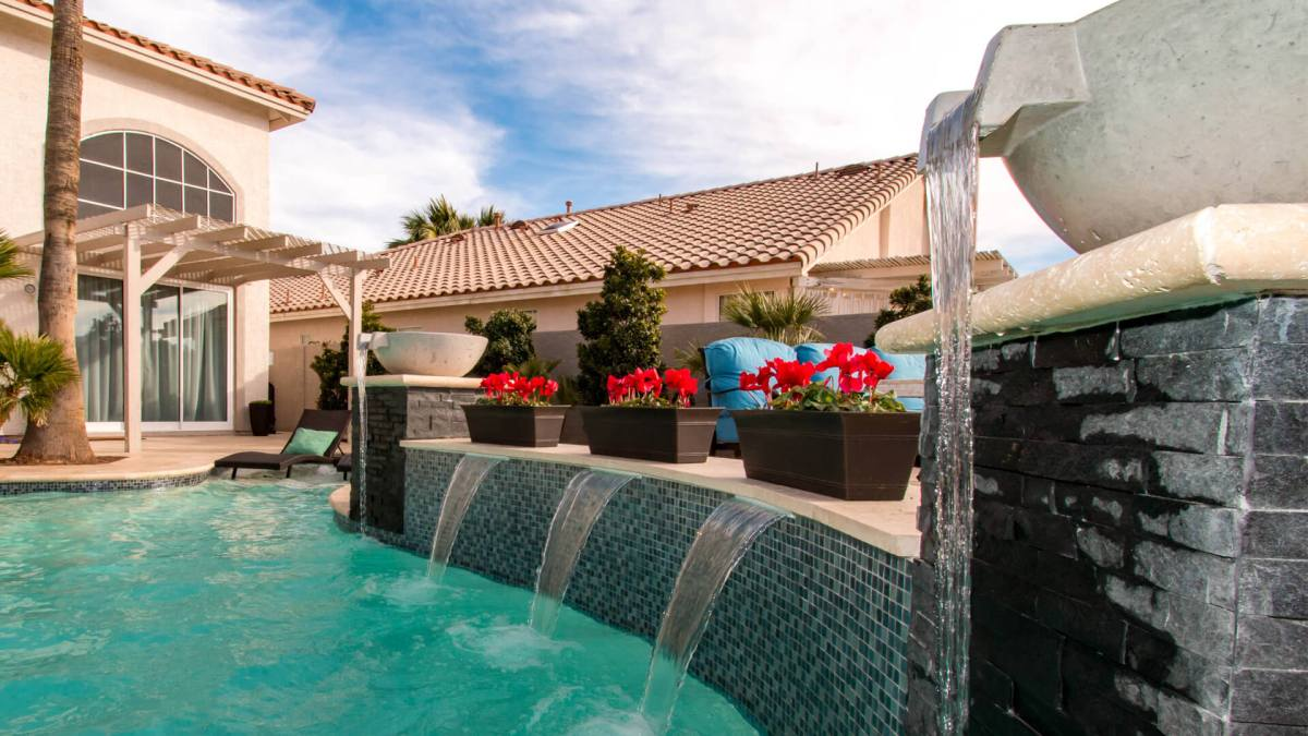 Custom Built Scupper Water Fountain Feature - Clarity Pool Service of Las Vegas, Nevada