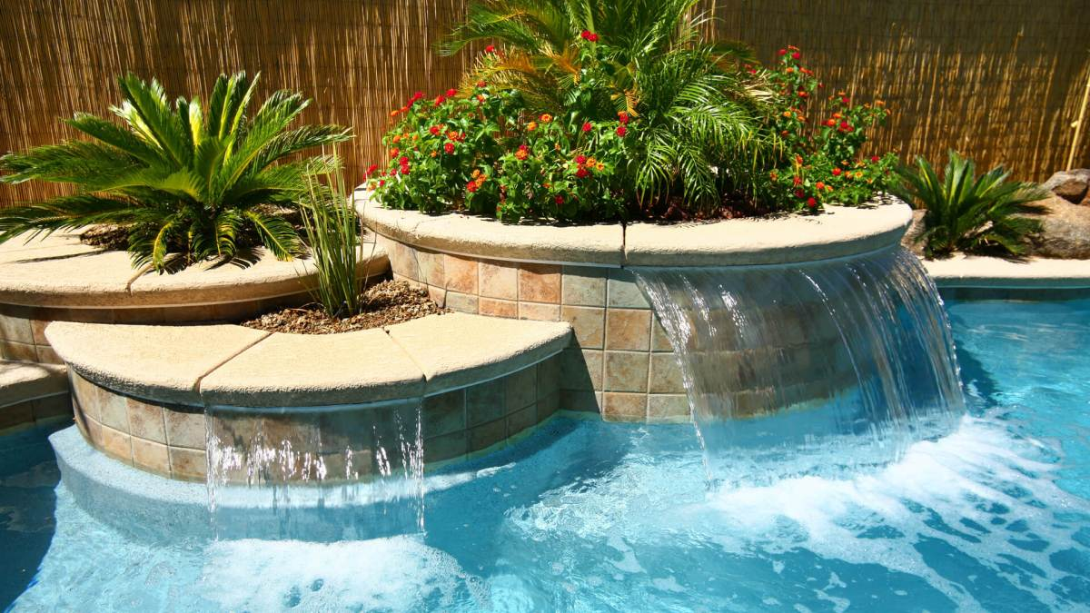 Sheer Water Wall Custom Swimming Pool Design Option - Clarity Pool Service of Las Vegas, Nevada