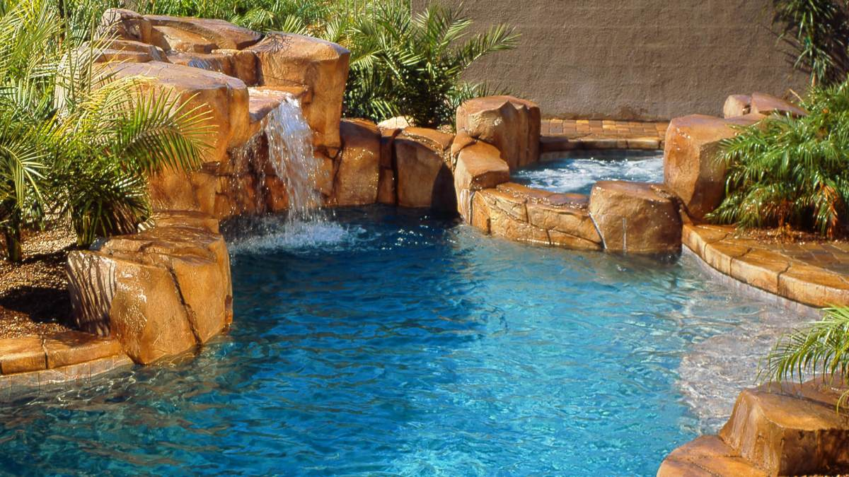 Custom Rockscape Waterfall Feature - Clarity Pool Service of Southern Nevada