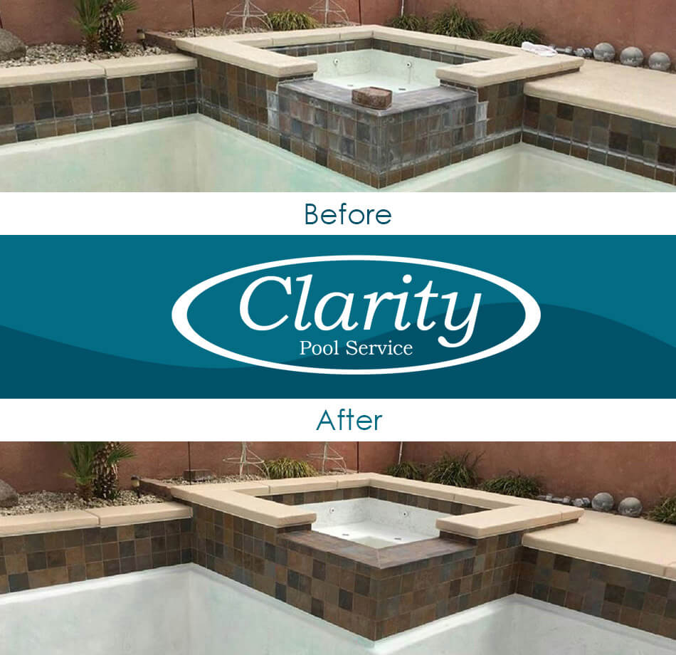 Swimming Pool Bead Blasting Services by Clarity Pool Service - Before and After Results