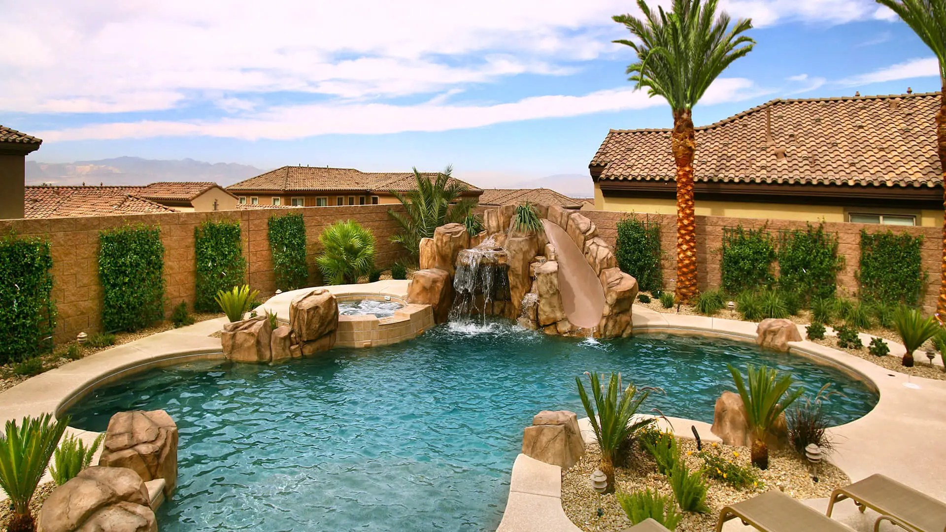 Custom Rockscape Swimming Pool Design & Construction - Clarity Pool Service of Southern Nevada
