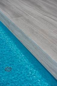 Close-up of Limestone Natural Stone Used in the Custom Swimming Pool Construction