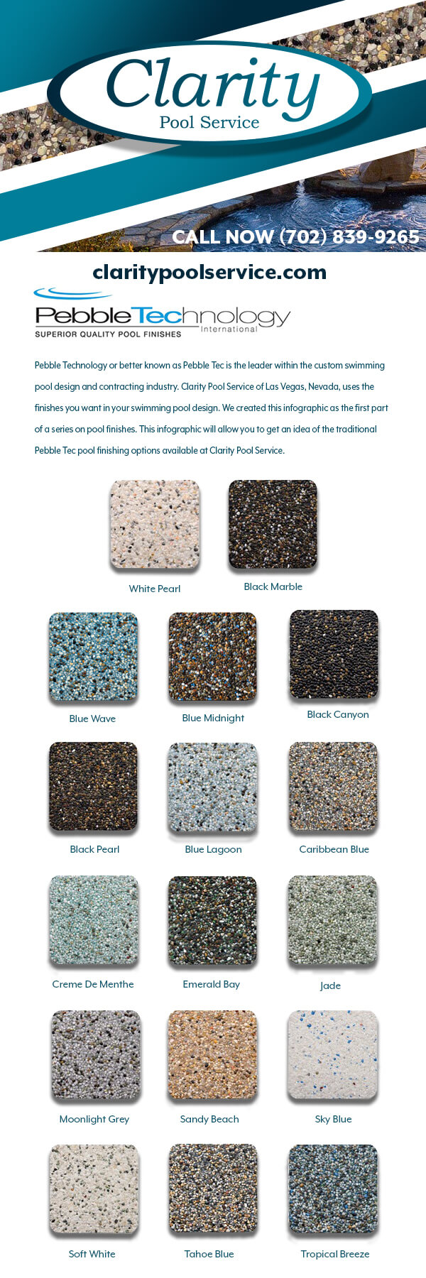 Traditional Pebble Tec Swimming Pool Finishing Material Infographic