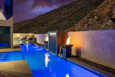 Custom Swimming Pool Water Feature - Water-wall Waterfall by Clarity Pool Service of Southern Nevada