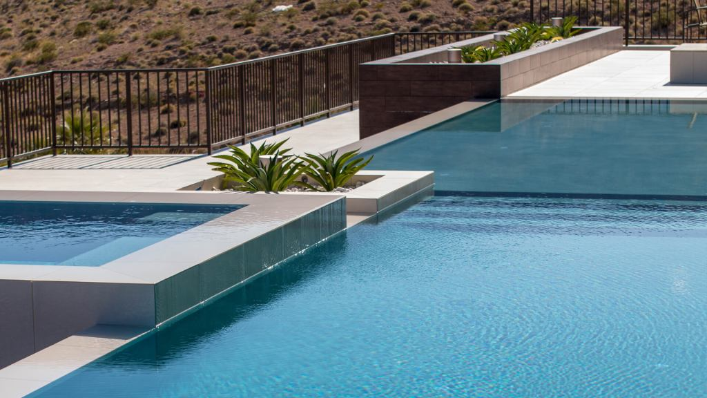 Custom Infinity Edge Pool and Spa by Clarity Pool Service of Las Vegas, Nevada