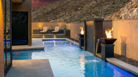 Custom Water Wall Swimming Pool Feature by Clarity Pool Service of Las Vegas, Nevada