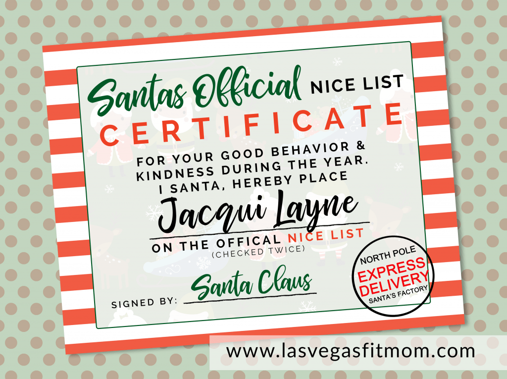 image relating to Free Printable North Pole Special Delivery Printable referred to as Santas Formal Awesome Record Certification Absolutely free Printable