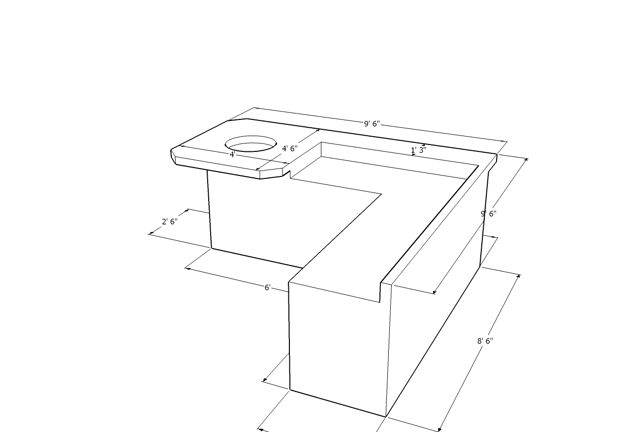 Custom L-Shaped Island with Social Bar and Fire Table