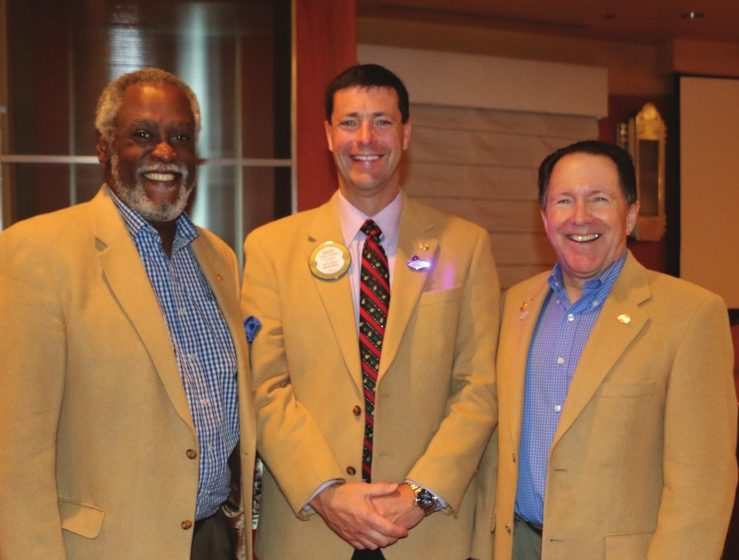 """President Dave, Steve Linder and Joe Lee pose in their camel hair jackets as the """"Camel Bros""""."""