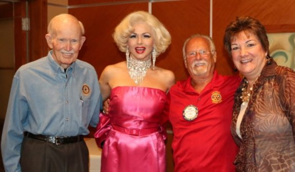 Our greeter Jennifer Lier, aka Marilyn Monroe poses with Jim Jones, Bob Werner and Deb Granda.