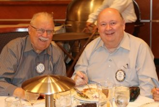 Pete Samolis and Bob Barnard join in fellowship and a picture