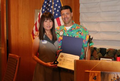 President Dave presented his wife Chieko with her first Paul Harris Award.