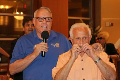 Ted McAdam and Jerry Engel set the note for he's a Jolly Good Fellow.
