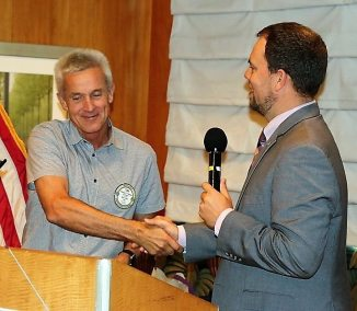 President Michael recognized Tom Thomas with a 4-Way test coin for hosing the Alpine Picnic.