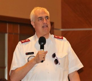 Salvation Army Major Randy Kinnamon shared the urgent need for bottled water.
