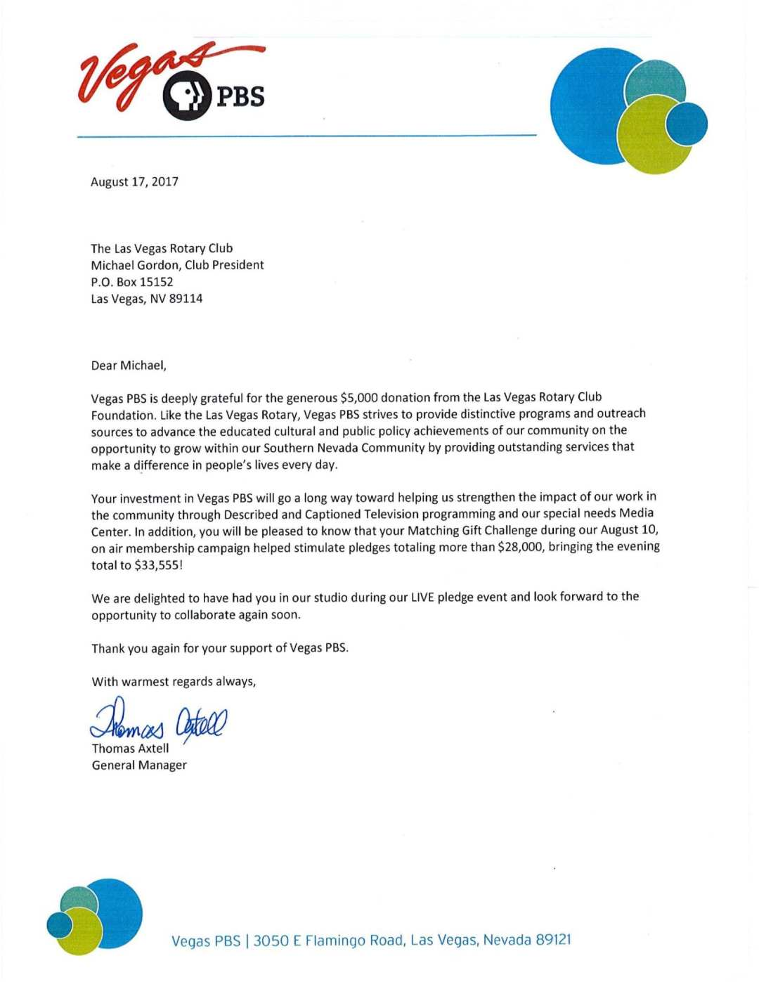 Thank You Letters  Las Vegas Rotary Club