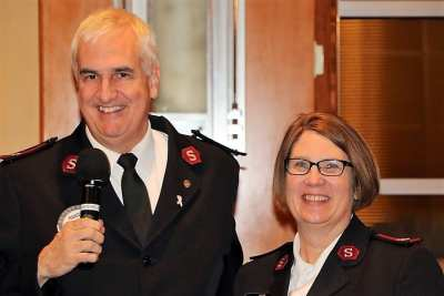 Major Randy Kinnamon of the Salvation Army introduced his wife Cheryl.