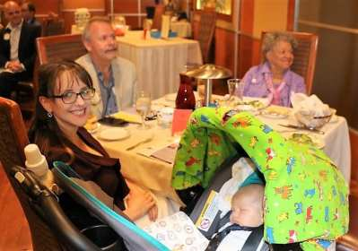Michael's head table included his wife Amanda, baby Samuel, PP Randy Donald and our speaker PDG Sylvia Whitlock
