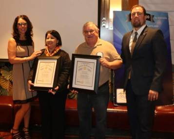 Rosalee Hedrick inducted two new members Ana Orellana and Bruce Frazey.