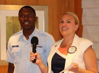 Jaime Goldsmith and airman Njafuh sang the Air Force flight song