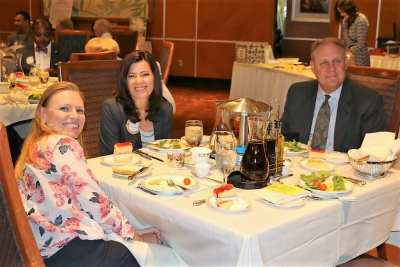 Seated at President Jim's head table was Melonie Muldowney, PPt Ginger Anderson and our speaker Frank Mack the executive producer of the Shakespeare Festival in Cedar City UT.