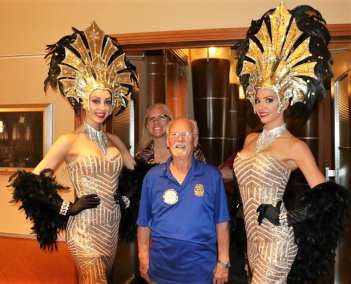 Our greeters and Showgirls were a hit with Bob and photo bomber Jaime