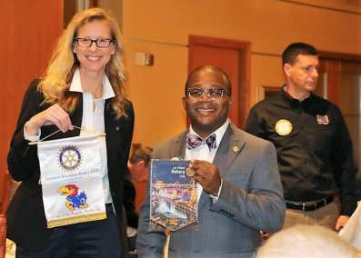 Kim Nyomi was our Sargent At Arms and exchanged Banners with a Rotarian from Indiana.