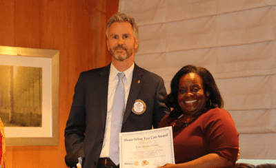 President Jim presented our speaker Kathi Thomas-Gibson of the Courtyard Homeless Resource Center with our Share What You Can Award.
