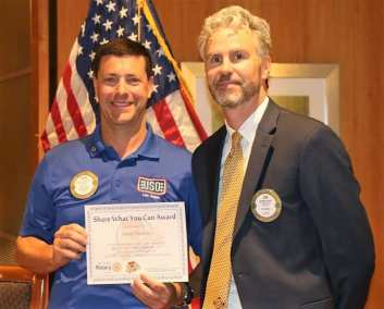 """President Jim presented PP David Thorson of the USO with our """"Share What You Can Award"""""""