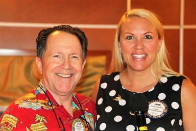 PP Steve Linder our Sergeant At Arms, posed with our SOAR Chair Jaime Goldsmith for a pause and smile photo.