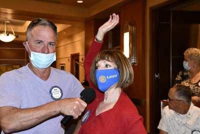 Toni Kern wears her mask upside down, but she is not in distress