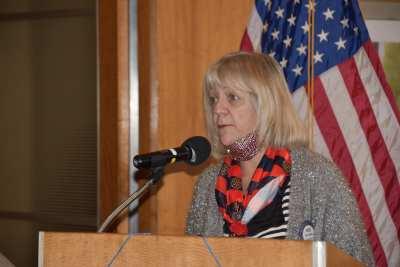 Rose Falocco introduces the Area Four-Way speech contest