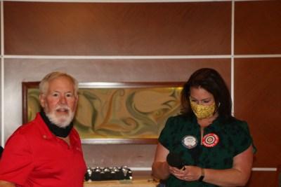 SAA Sarah Thornton brings the mic to visiting Rotarian Tom Novotny