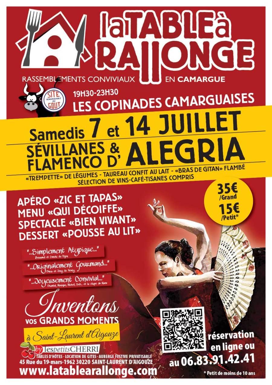 Diner spectacle des 7 et A4 juillet à LA TABLE A RALLONGE EN CAMARGUE. Soirée sévillanes et Flamenco, musiques gitanes, soirée dansante