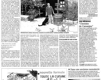 On parle de LA TABLE A RALLONGE, l'auberge insolite de Camargue dans le journal MIDI-LIBRE
