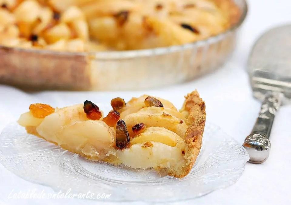 TARTE AUX POIRES ET RAISINS SECS sans gluten, sans lait ou sans lactose, sans sucre, avec ou sans oeuf