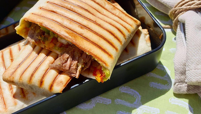 Bento avec des tacos au bœuf