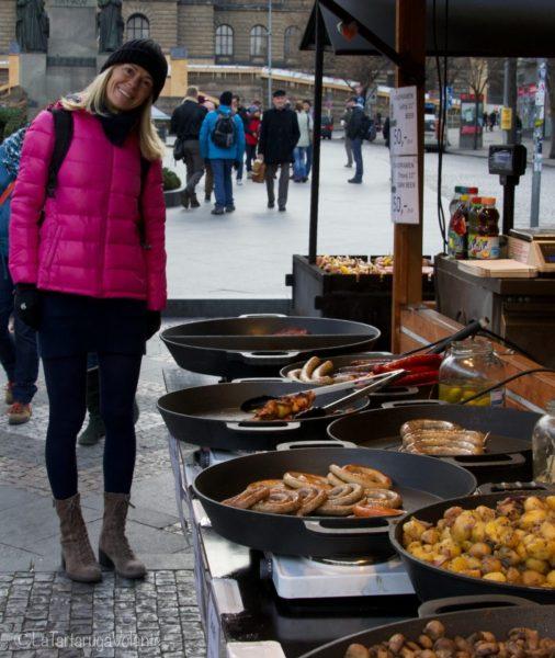 Praga, io e le bancherelle di cibo