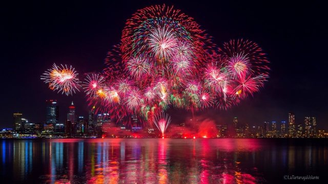 Fotografare i fuochi d'artificio, perth 26 gennaio 2019