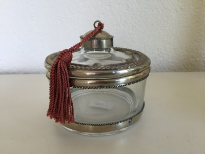 Moroccan glass jars with metal decoration