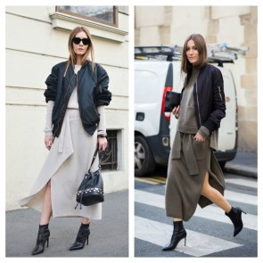 Bomber jacket and dress outfit