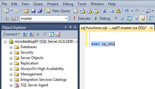 execute sql sp who command